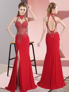 Sleeveless Backless Floor Length Lace and Appliques Pageant Gowns