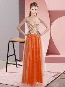 Orange Red Empire Beading Pageant Dress Womens Lace Up Tulle Sleeveless Floor Length
