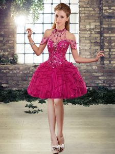 Fuchsia High School Pageant Dress Prom and Party with Beading and Ruffles Halter Top Sleeveless Lace Up