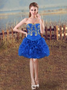 Mini Length Royal Blue Custom Made Pageant Dress Sweetheart Sleeveless Lace Up