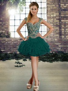 Sumptuous Dark Green Ball Gowns Straps Sleeveless Organza Mini Length Lace Up Beading and Ruffles Glitz Pageant Dress