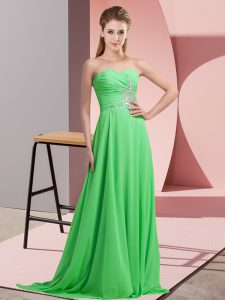 Sleeveless Floor Length Beading and Ruching Lace Up Pageant Gowns
