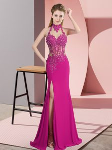 Fuchsia Halter Top Neckline Lace and Appliques Pageant Dress Sleeveless Backless