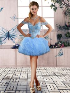 Inexpensive Light Blue Pageant Dresses Prom and Party with Beading and Ruffles Off The Shoulder Sleeveless Lace Up