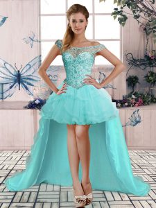 Luxury Tulle Sleeveless High Low Pageant Dress for Womens and Beading and Ruffles