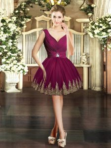 Mini Length Burgundy Pageant Dress Toddler Tulle Sleeveless Embroidery