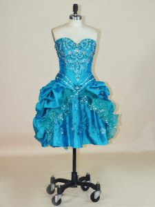 Taffeta Sweetheart Sleeveless Lace Up Beading and Pick Ups Evening Gowns in Teal
