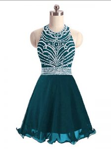 Sleeveless Mini Length Beading Lace Up Custom Made Pageant Dress with Teal
