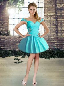 Glittering Mini Length Ball Gowns Sleeveless Aqua Blue Pageant Gowns Lace Up