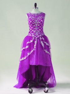 Purple A-line Beading and Appliques Pageant Dress for Teens Zipper Tulle Sleeveless High Low