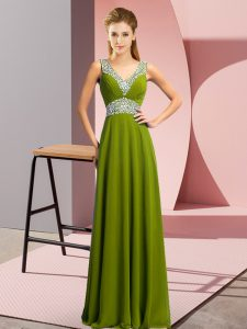 Comfortable Olive Green Lace Up V-neck Beading Pageant Dress for Girls Chiffon Sleeveless