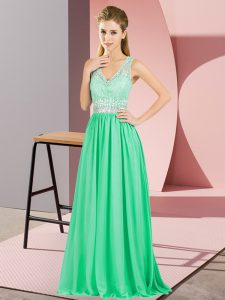 Custom Design V-neck Sleeveless Pageant Dress Wholesale Floor Length Beading and Lace and Appliques Apple Green Chiffon