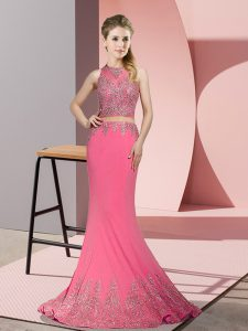 Rose Pink Sleeveless Sweep Train Beading and Appliques Winning Pageant Gowns