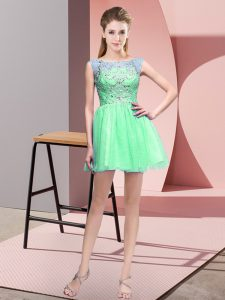 Spectacular Apple Green Sleeveless Mini Length Beading Zipper Pageant Dress for Teens