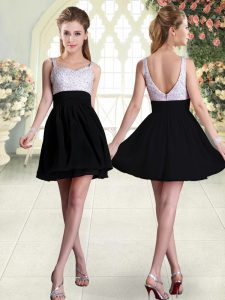 Beading Pageant Dress Black Backless Sleeveless Mini Length