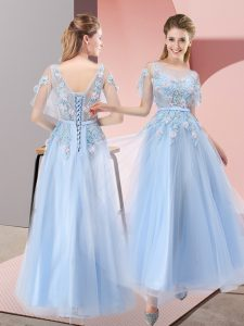 Tulle Scoop Short Sleeves Lace Up Appliques Pageant Dress Toddler in Light Blue