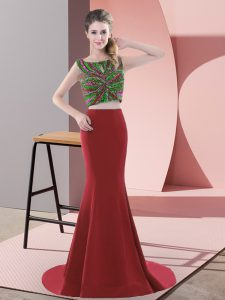 Trendy Sleeveless Satin Sweep Train Backless Pageant Dress Wholesale in Red with Beading