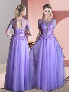 Lavender Scoop Backless Beading and Lace Evening Gowns Short Sleeves