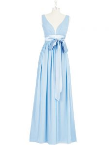 Empire Pageant Dress for Teens Baby Blue V-neck Chiffon Sleeveless Floor Length Backless