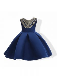 Stylish Navy Blue Zipper Pageant Gowns Appliques and Bowknot Sleeveless Mini Length