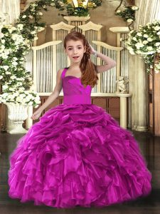Fantastic Organza Sleeveless Floor Length Pageant Dress for Girls and Ruffles