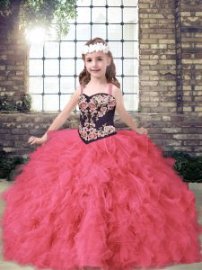 Sleeveless Tulle Floor Length Lace Up Custom Made Pageant Dress in Coral Red with Embroidery and Ruffles
