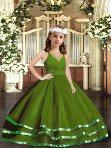Green Sleeveless Tulle Zipper Pageant Dress for Party and Wedding Party