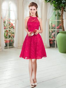 Vintage Red Sleeveless Knee Length Lace Zipper Pageant Dress for Teens
