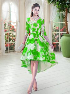 High Low Green Pageant Dress for Girls Lace Half Sleeves Belt