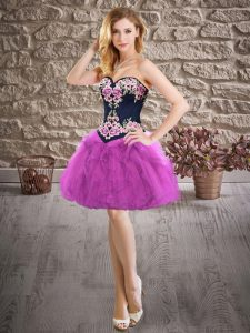 Purple A-line Embroidery Pageant Dress Lace Up Organza Sleeveless Mini Length