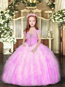 Enchanting Ball Gowns Pageant Dress for Teens Lilac Straps Tulle Sleeveless Floor Length Lace Up
