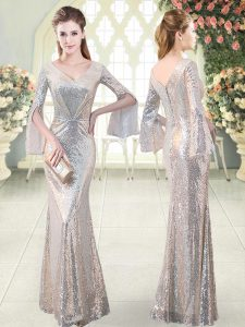 Silver Sequined V-neck Long Sleeves Floor Length Evening Gowns Ruching