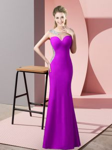 Beading and Pick Ups Pageant Dress Wholesale Purple Zipper Sleeveless Floor Length Sweep Train