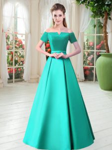 Noble Turquoise Satin Lace Up Pageant Dress for Teens Short Sleeves Floor Length Belt