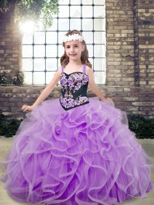 Lavender Ball Gowns Embroidery and Ruffles Pageant Dress for Teens Lace Up Tulle Sleeveless Floor Length