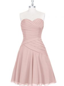 Sleeveless Mini Length Pageant Dress for Womens and Ruching and Pleated