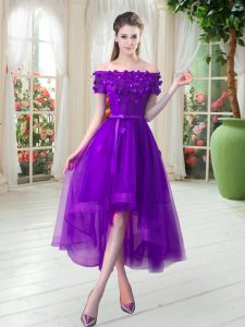 Hot Sale Purple Pageant Dresses Prom and Party with Appliques Off The Shoulder Short Sleeves Lace Up