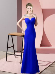 Custom Made Scoop Sleeveless Zipper Pageant Dress for Womens Royal Blue Satin