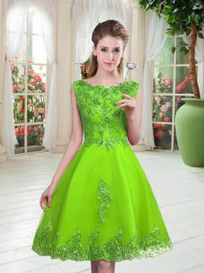 A-line Pageant Dress Womens Scoop Tulle Sleeveless Knee Length Lace Up