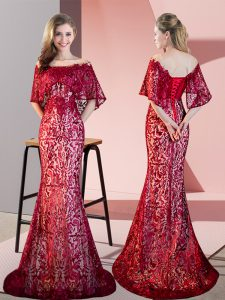 Sophisticated Red Sequined Lace Up Pageant Dresses Half Sleeves Sweep Train Lace