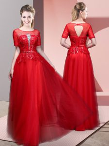 Romantic Floor Length Backless Glitz Pageant Dress Red for Prom and Party with Beading and Lace