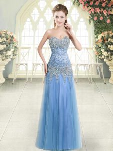 Sweetheart Sleeveless Zipper Glitz Pageant Dress Blue Tulle