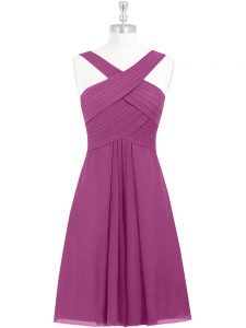 Delicate Fuchsia Straps Neckline Pleated Pageant Gowns Sleeveless Zipper