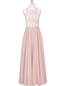 Lace and Appliques Evening Gowns Pink Zipper Sleeveless Floor Length