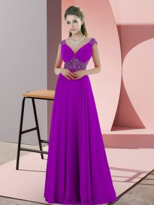 Purple Spaghetti Straps Neckline Beading Pageant Gowns Sleeveless Backless