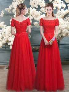 Lovely Floor Length Lace Up Pageant Dresses Red for Prom and Party with Lace
