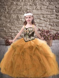 Tulle Straps Sleeveless Lace Up Embroidery and Ruffles Pageant Dress in Gold