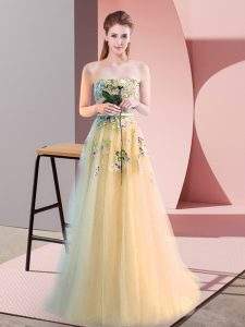 Dynamic Light Yellow Tulle Lace Up Sweetheart Sleeveless Floor Length Pageant Dress Appliques