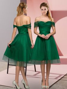 Dazzling Off The Shoulder Sleeveless Lace Up Pageant Dress for Teens Green Tulle