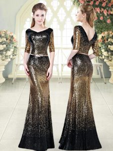Popular Sequined Half Sleeves Floor Length Pageant Dress Wholesale and Belt